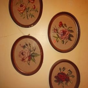 Needle point wool  tapestry frames vintage